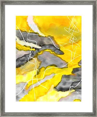Cheerful Contrast - Yellow And Gray Watercolor Framed Print