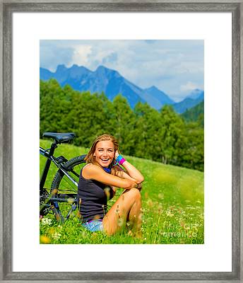 Cheerful Female With Bicycle On Green Field Framed Print by Anna Om