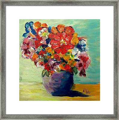 Cheerful Flowers In Pot Framed Print by Arlene Holtz
