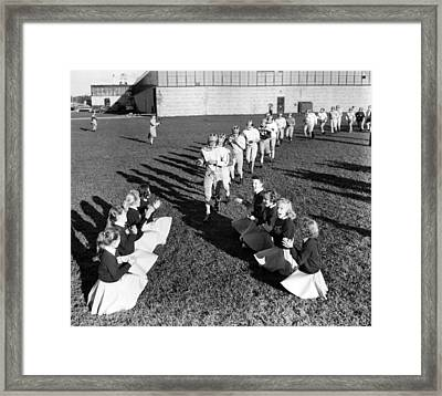 Cheerleaders Encourage Football Players Framed Print by Retro Images Archive