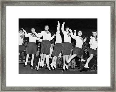 Cheerleaders Jump For Joy Framed Print by Underwood Archives