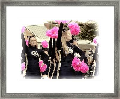 Cheerleaders - Shepherd University Cheerleaders At Homecoming 2012 Framed Print