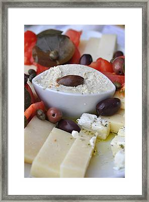 Cheese And Olives Framed Print by Kathy Schumann