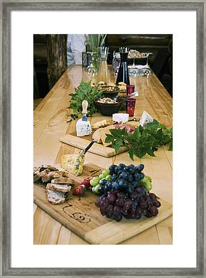 Cheese, Bread And Fruit Hors Doervres Framed Print
