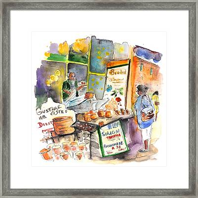 Cheese Stall In Siracusa Framed Print by Miki De Goodaboom