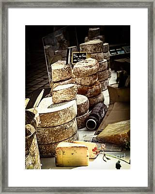 Cheeses On The Market In France Framed Print