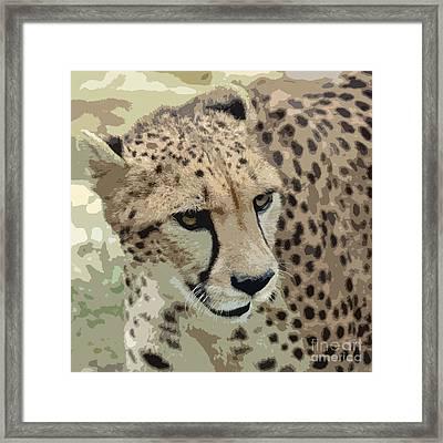 Cheetah 3 Quarters Macro Profile Cutout Digital Art Square Format Framed Print