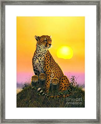 Cheetah And Cubs Framed Print