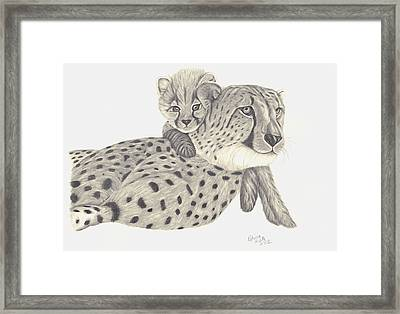 Framed Print featuring the drawing Cheetah And Her Cub 1 by Patricia Hiltz