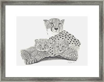 Cheetah And Her Cubs Framed Print