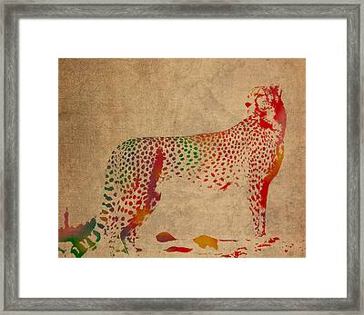 Cheetah Animal Watercolor Portrait On Worn Canvas Framed Print by Design Turnpike