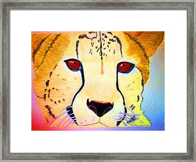 Cheetah With Color Framed Print by Jean Marie Economen