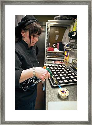 Chef Blow-torching Creme Brulee Framed Print