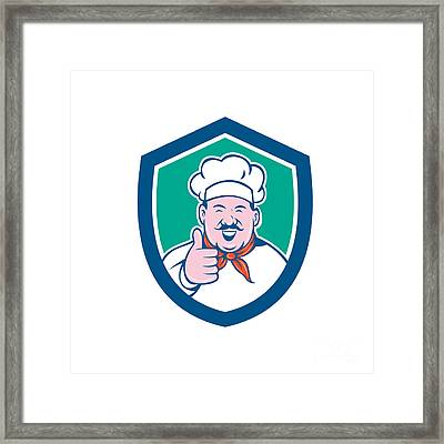 Chef Cook Happy Thumbs Up Shield Cartoon Framed Print
