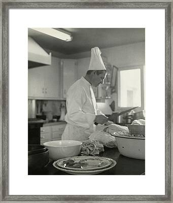 Chef Cooking At Elizabeth Arden's Maine Chance Framed Print
