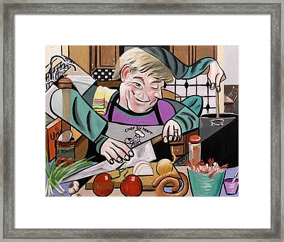 Chef With Heart Framed Print by Anthony Falbo