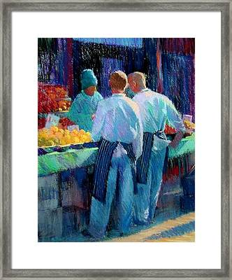 Chefs At The Market Framed Print by Jackie Simmonds