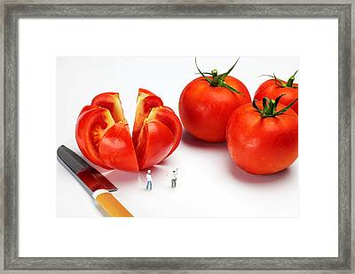 Chefs Chopping Tomatoes Little People Big Worlds Framed Print by Paul Ge