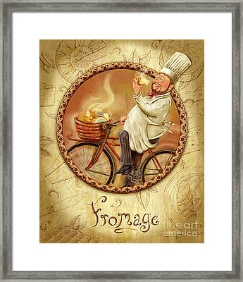 Chefs On Bikes-fromage Framed Print by Shari Warren