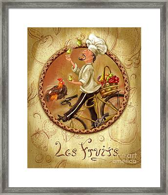 Chefs On Bikes-les Fruits Framed Print