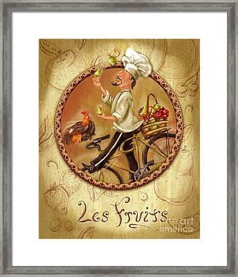 Chefs On Bikes-les Fruits Framed Print by Shari Warren