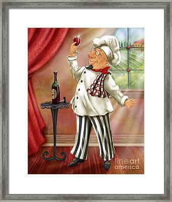 Chefs With Wine Iv Framed Print by Shari Warren
