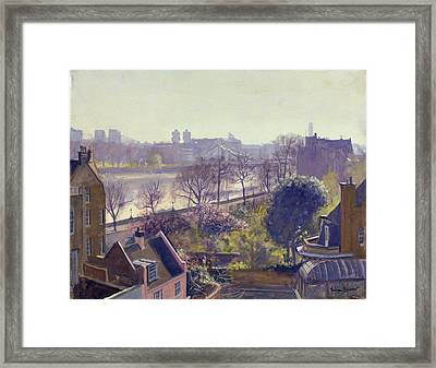 Chelsea Embankment From The Physic Garden Oil On Canvas Framed Print by Julian Barrow