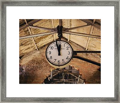 Framed Print featuring the photograph Chelsea Market Clock by Kim Fearheiley