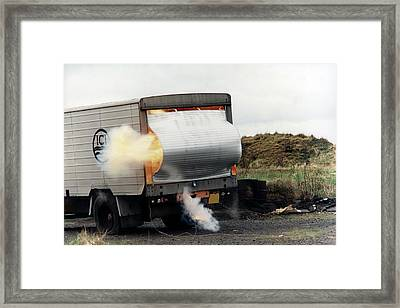 Chemical Safety Explosion Test Framed Print by Crown Copyright/health & Safety Laboratory Science Photo Library