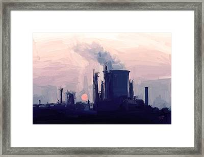 Framed Print featuring the painting Chemical Sunset by Nop Briex