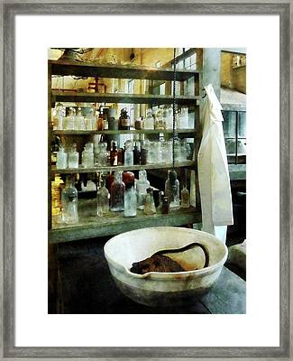 Chemist - Cruicible And Lab Coat Framed Print by Susan Savad