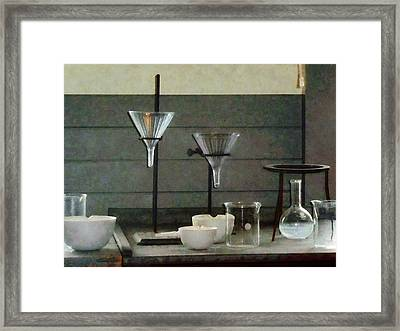 Chemist - Funnels Flasks And Crucibles Framed Print by Susan Savad