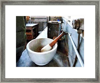 Chemist - Mortar And Pestle In Lab Framed Print by Susan Savad