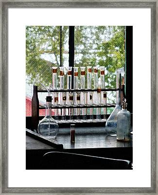 Chemist - Test Tubes By Window Framed Print