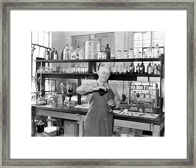 Chemist Working In A  Lab Framed Print by Underwood Archives