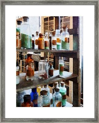 Chemistry - Bottles Of Chemicals Framed Print by Susan Savad
