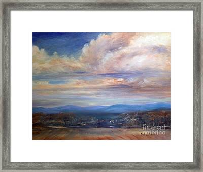 Framed Print featuring the painting Chenango River Valley by Sally Simon