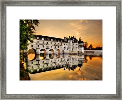 Chenonceau Castle In The Twilight Painting Framed Print
