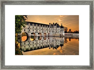 Chenonceau Castle In The Twilight Panorama Framed Print