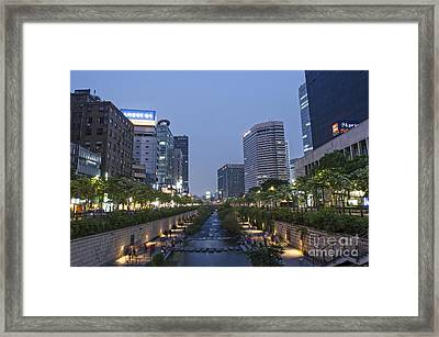 Cheonggyecheon Stream In Seoul South Korea Framed Print