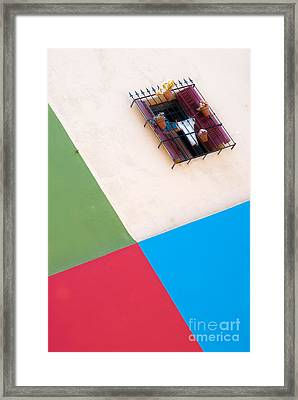 Chequered Wall And Window Framed Print by OUAP Photography