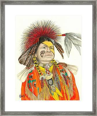 Cherokee In Orange Framed Print by Lew Davis
