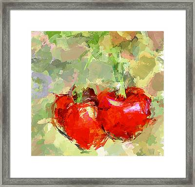 Cherries Abstract Framed Print by Yury Malkov