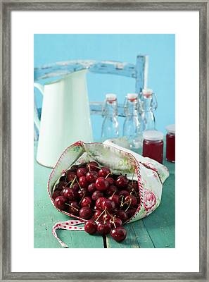 Cherries And Cherry Jelly Framed Print