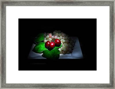 Cherries And Grapes Framed Print