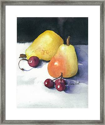 Cherries And Pears Framed Print
