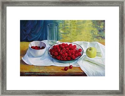 Cherries Framed Print by Elena Oleniuc