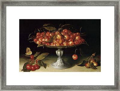 Cherries In A Silver Compote With Crabapples Framed Print by Fede Galizia