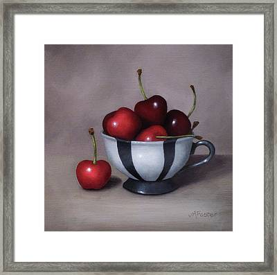 Cherries In A Teacup Framed Print by Jordan Avery Foster