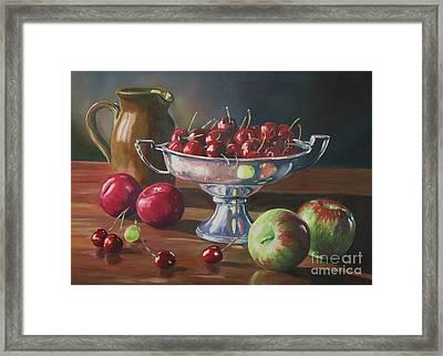Cherries In Silver Bowl Framed Print by John Clark